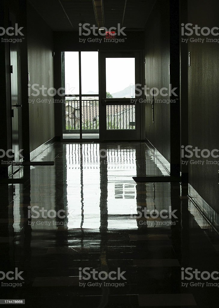 Emergency exit hallway royalty-free stock photo