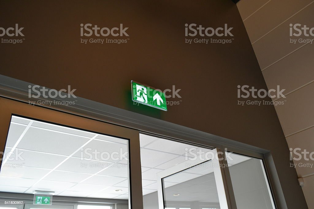 Emergency Exit Light stock photo