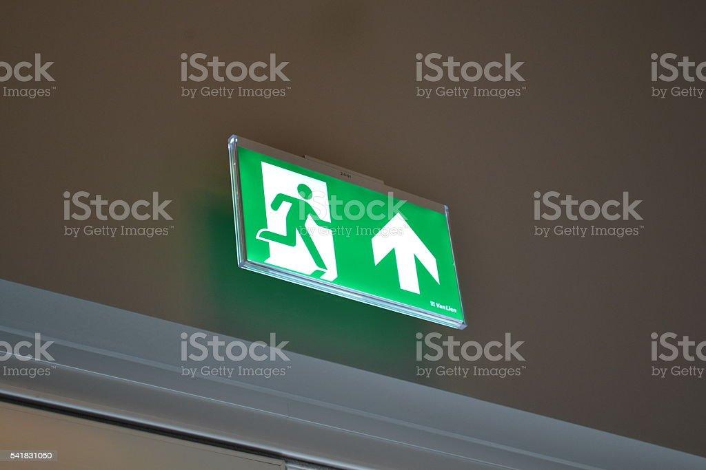 Emergency Exit Light stock photo