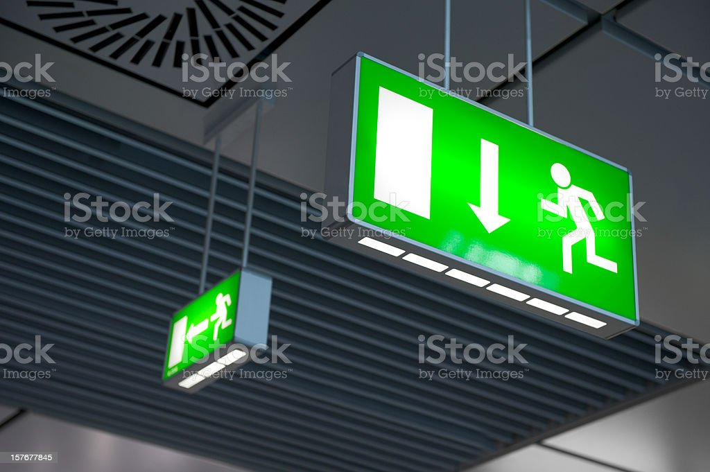 Emergency exit light sign stock photo