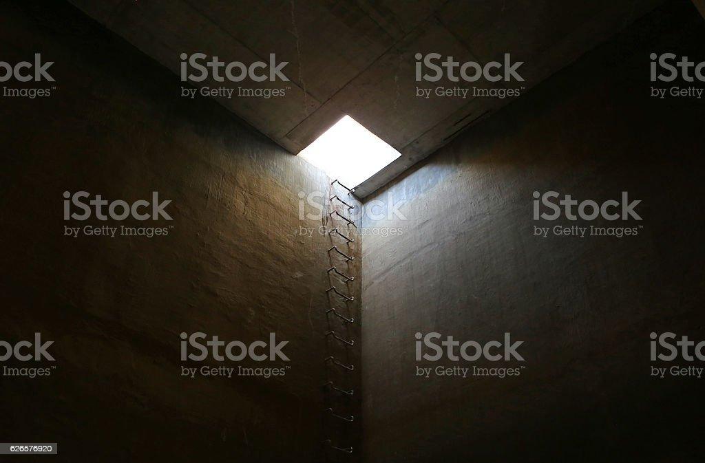 Emergency exit of underground tank stock photo