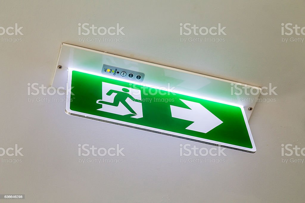 Emergency exit or fire exit on ceiling