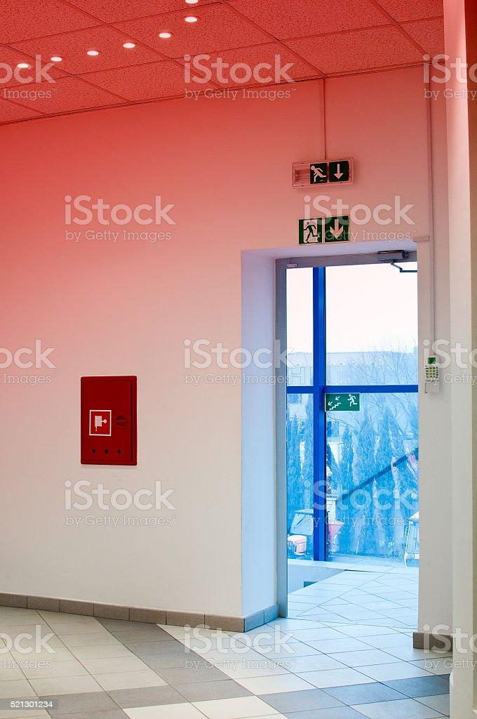 emergency exit stock photo