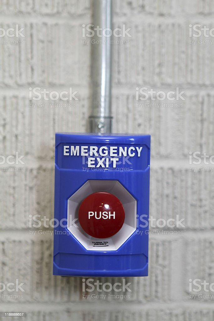 Emergency Exit Push Button stock photo