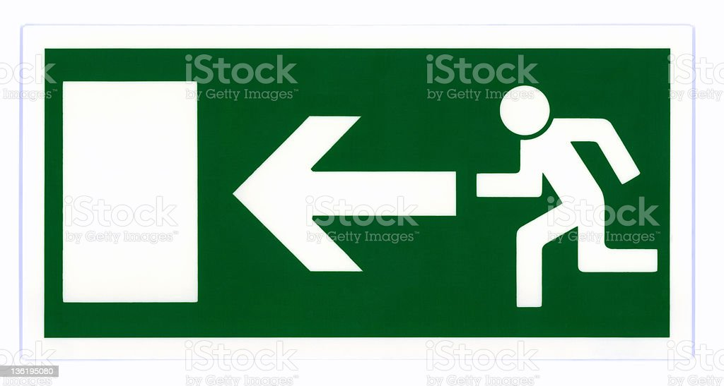 Emergency exit sign in green and white stock photo