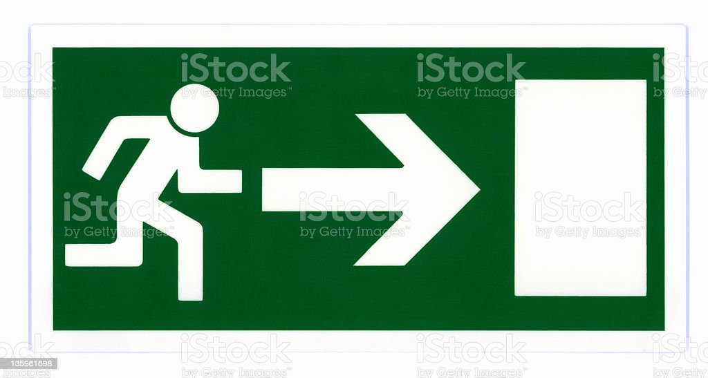 Emergency exit sign isolated royalty-free stock photo