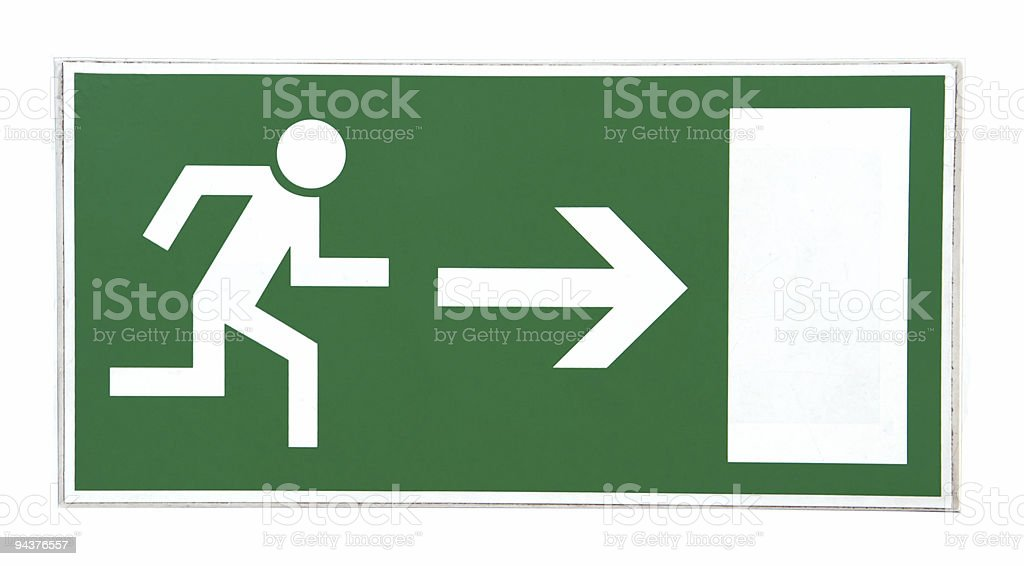 Emergency exit sign isolated stock photo
