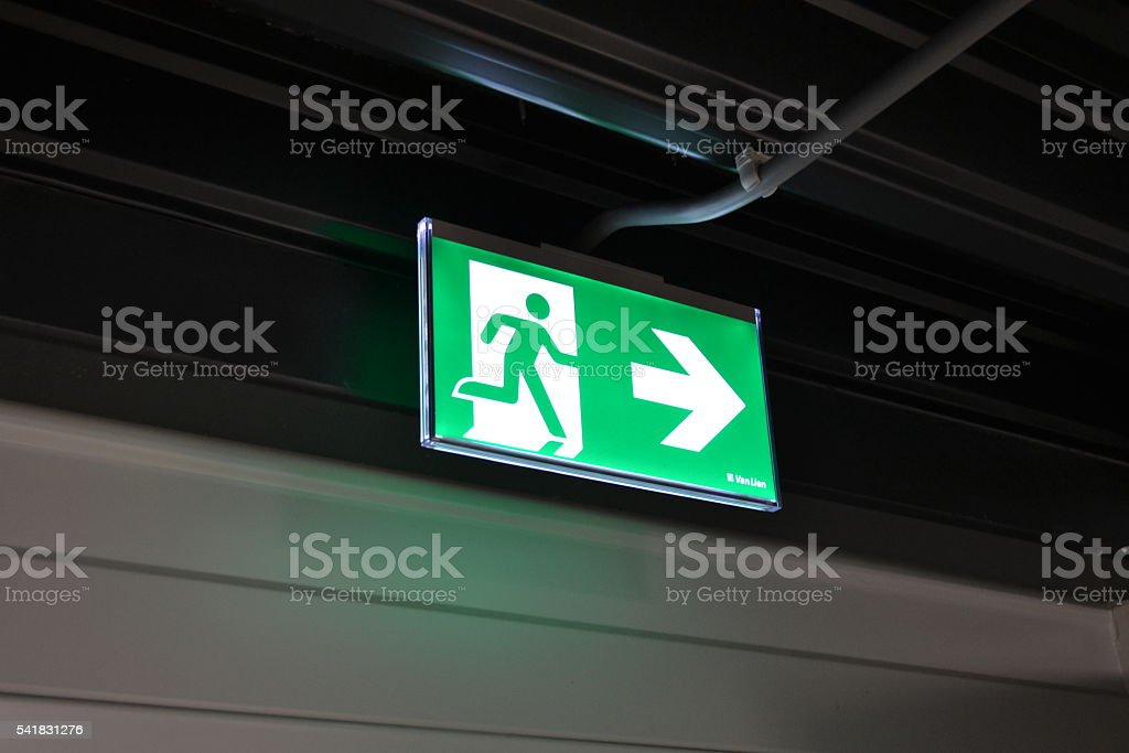An emergency exit light telling staff where to go in case of an...