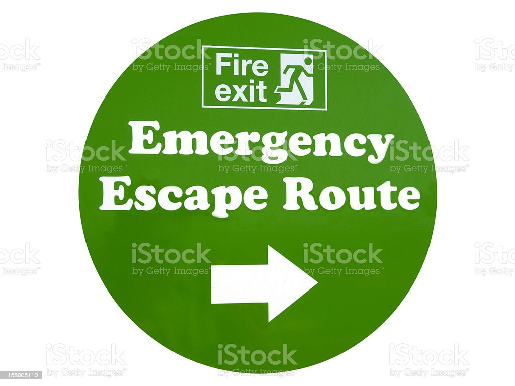 Emergency Exit Sign on White royalty-free stock photo