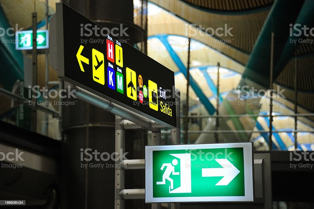 Emergency exit sign, terminal direction signs royalty-free stock photo