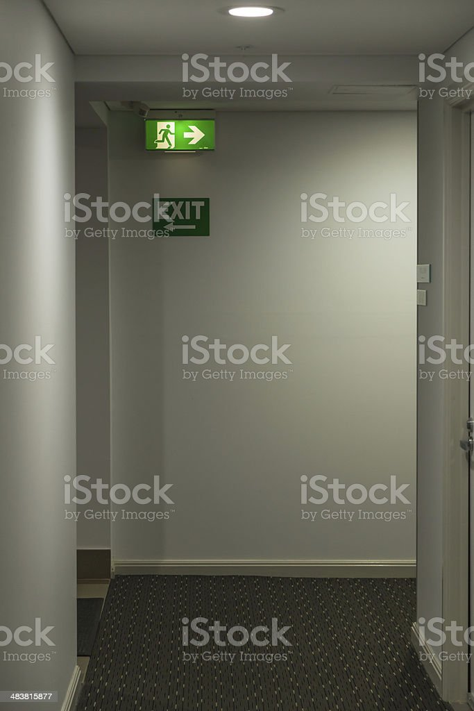 Emergency exit signs royalty-free stock photo