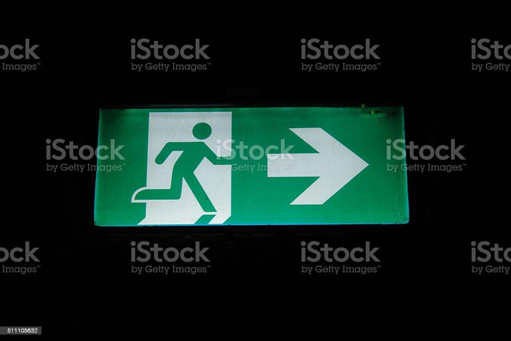 Emergency Exit Symbol stock photo