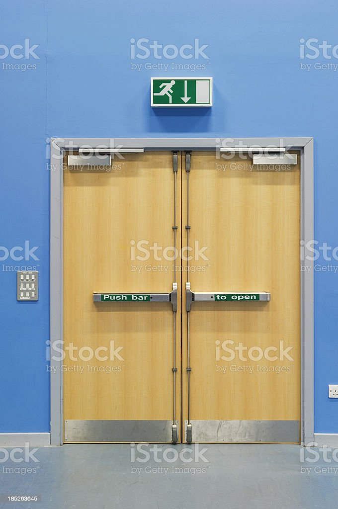 emergency fire doors stock photo