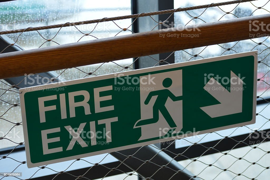 Emergency fire exit sign. stock photo