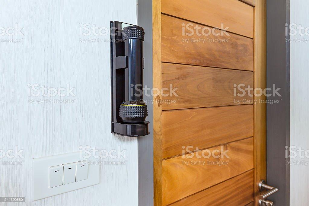 emergency flashlight at door for urgent case stock photo