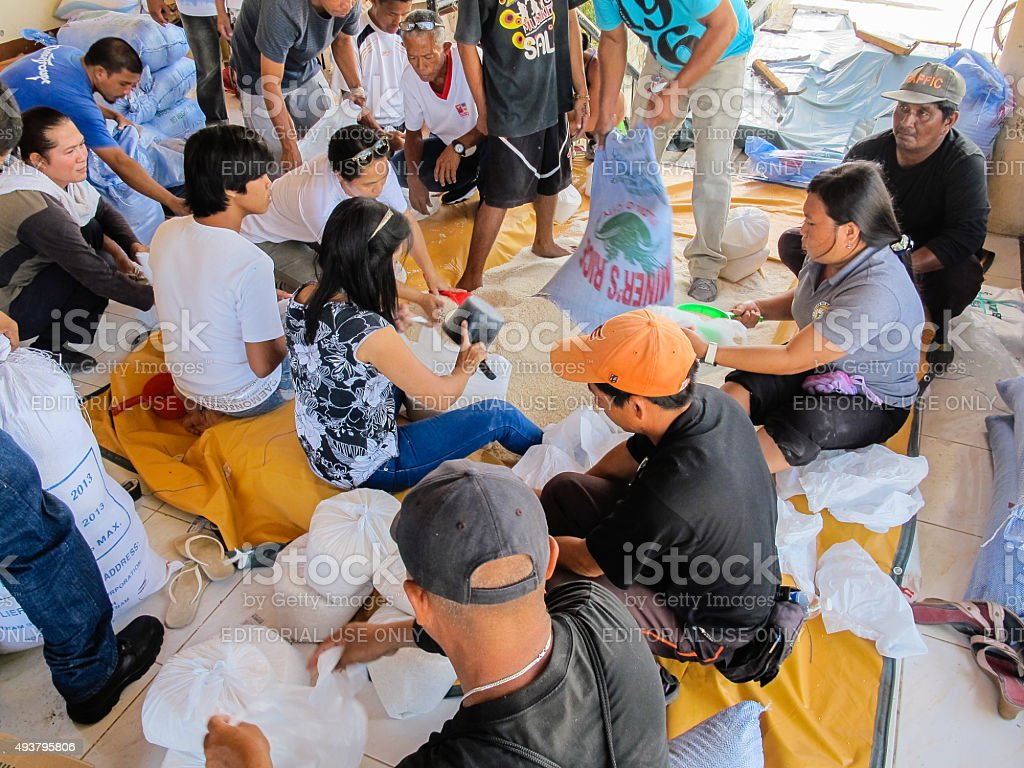 Emergency food from disaster relief agencies stock photo