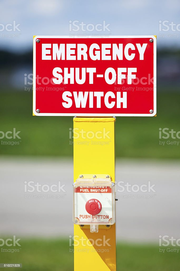 Emergency Fuel Pump Shut Off Sign and Switch stock photo