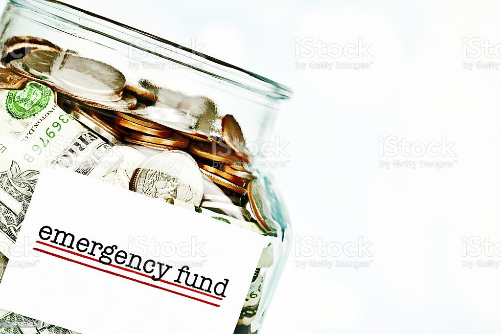 Emergency Fund Jar Filled with American Money royalty-free stock photo