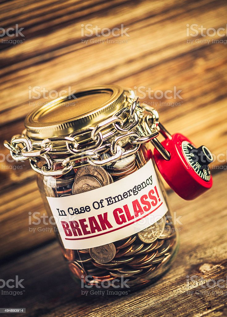 Emergency Fund Money Jar stock photo