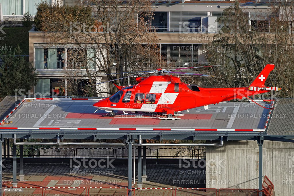 Emergency Helicopter on the hospital roof of the Thun City stock photo