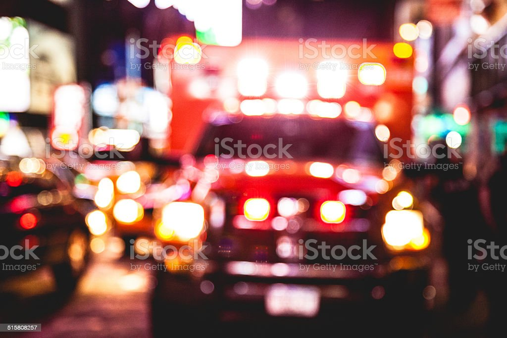 Emergency in downtown stock photo