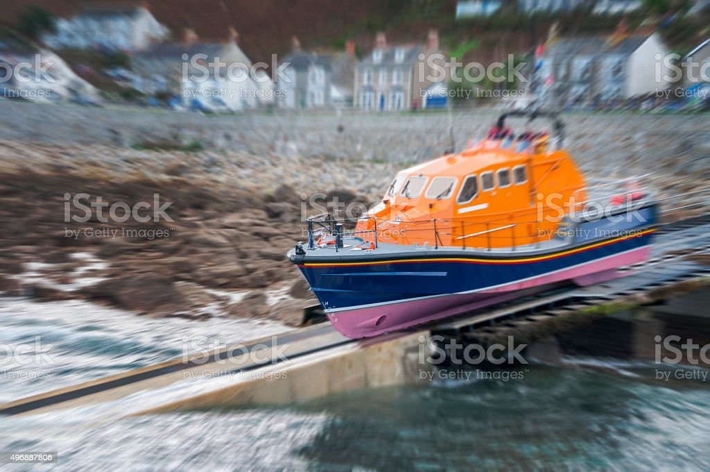 Emergency Life Boat Launch stock photo