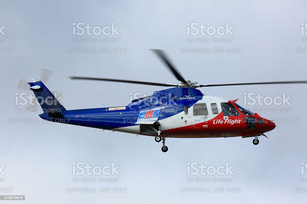 Emergency life flight helicopter at Halifax Stanley International Airport stock photo