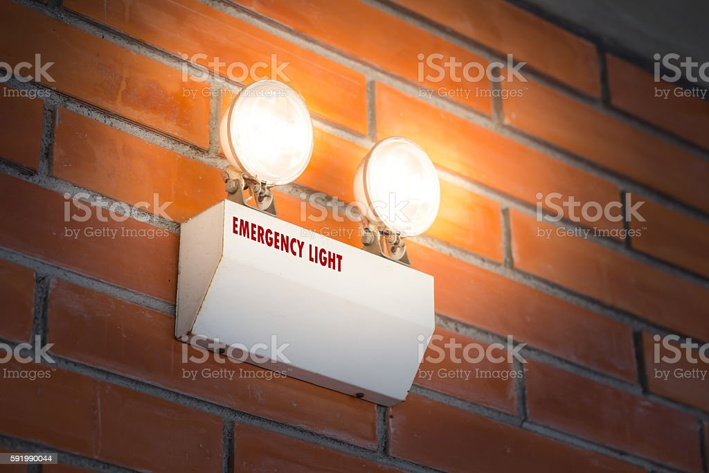emergency light auto lighting working when power outage by battery. stock photo