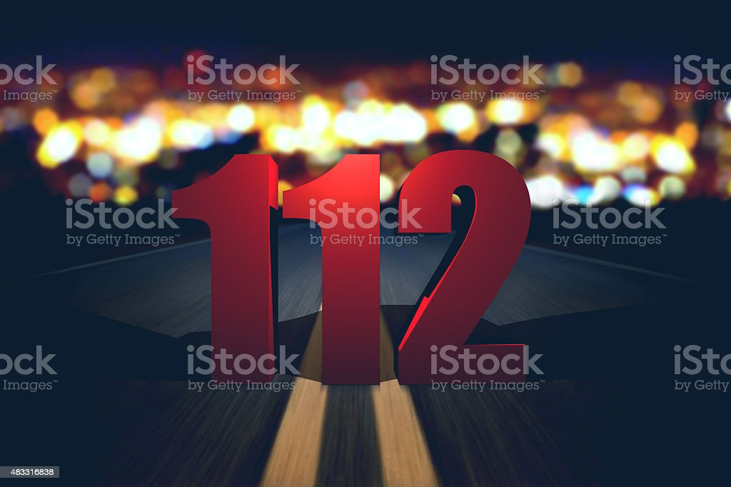 112 emergency number standing on the road stock photo