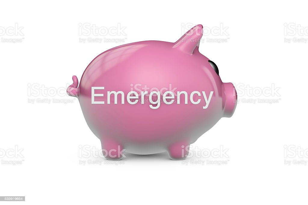 Emergency piggy bank stock photo