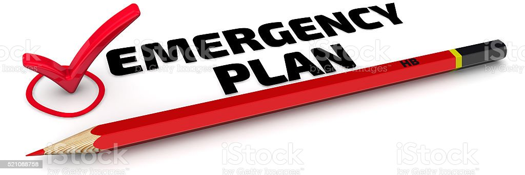 Emergency plan. The Mark stock photo