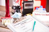Emergency preparedness checklist and disaster supplies.