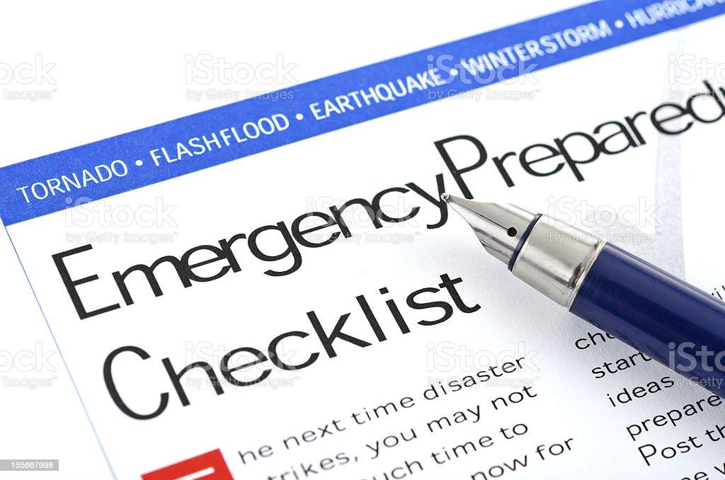 Emergency Preparedness Checklist stock photo