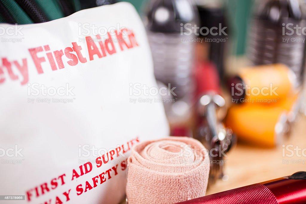 Emergency preparedness, natural disaster supplies. stock photo