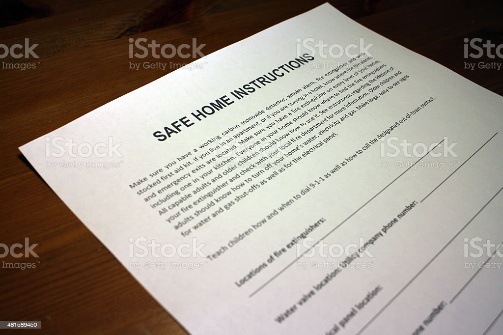 Emergency Preparedness Safe Home Instructions stock photo