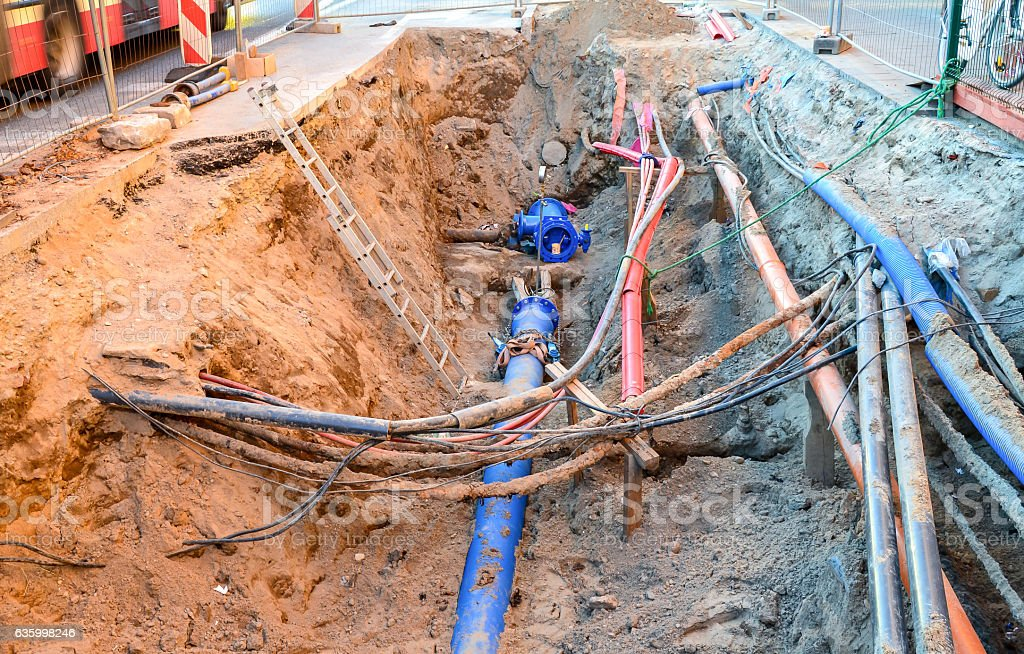 Emergency repairs of pipes stock photo