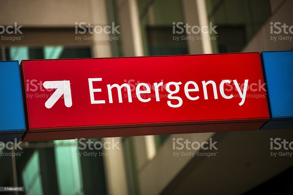 Emergency room entrance at the hospital stock photo