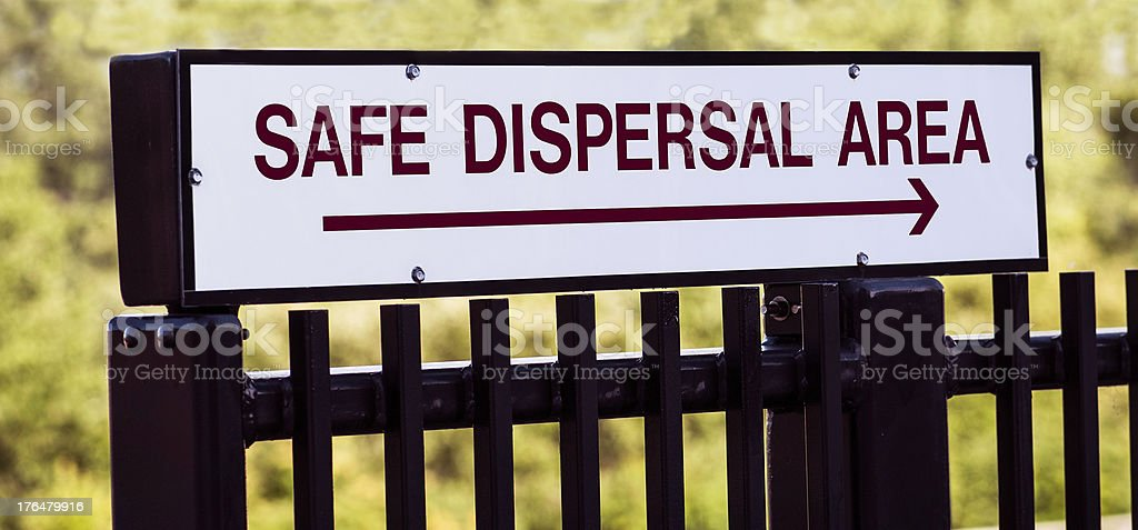 Emergency Safe Dispersal Evacuation Area Sign royalty-free stock photo
