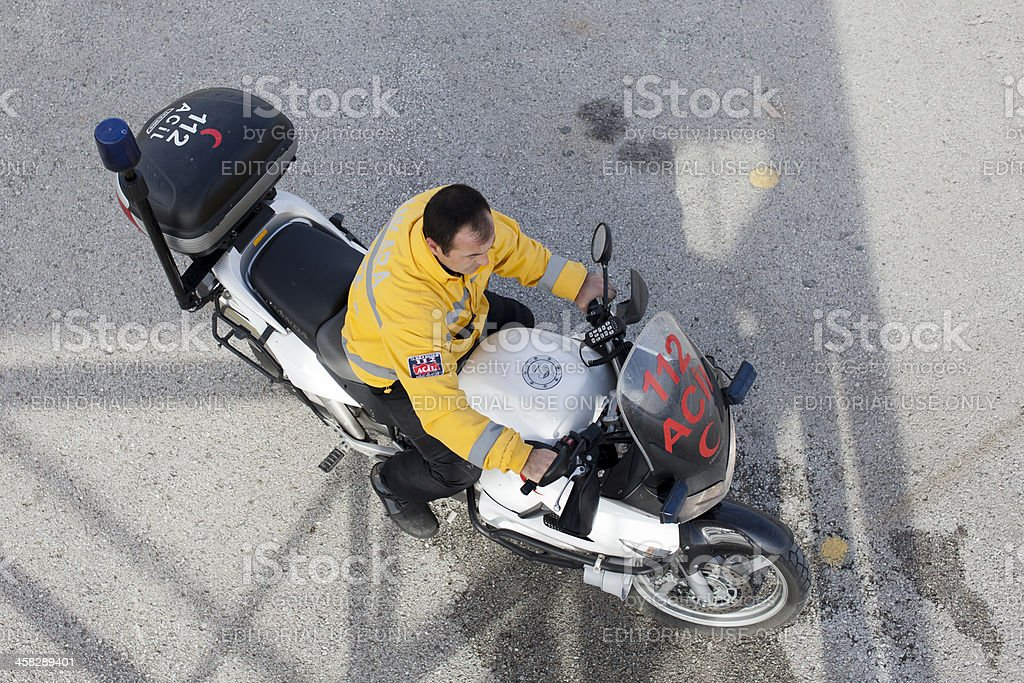 Emergency service doctor with motorcycle. royalty-free stock photo