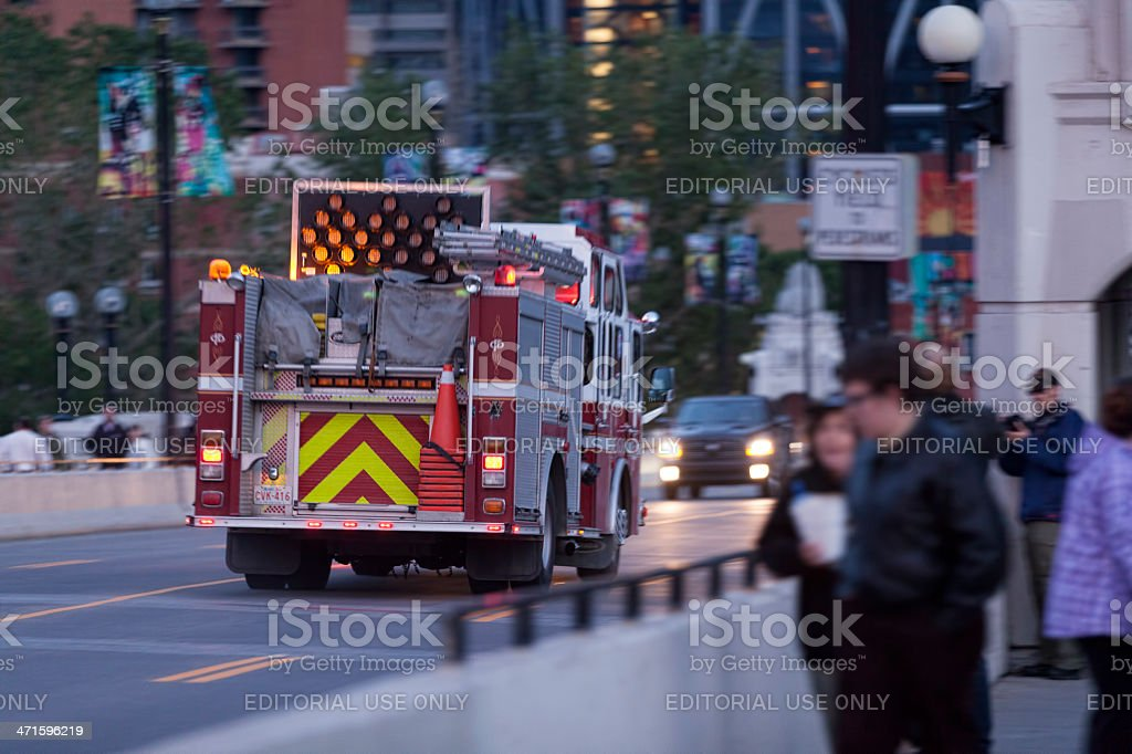 Emergency services heading into downtown Calgary royalty-free stock photo