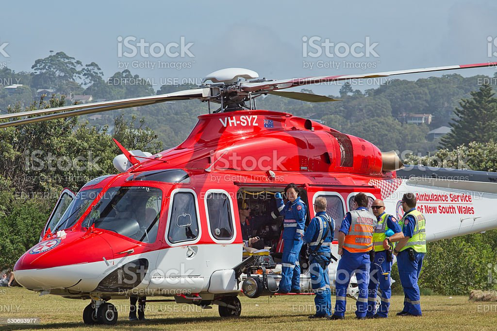 Emergency services save a man from drowning stock photo
