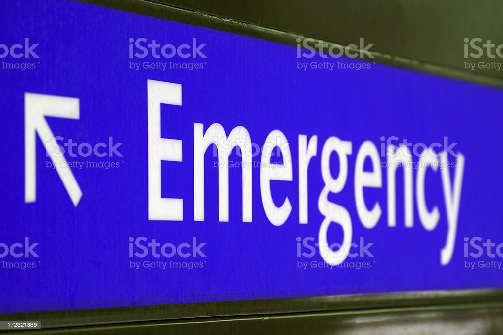 Emergency Sign in Blue stock photo