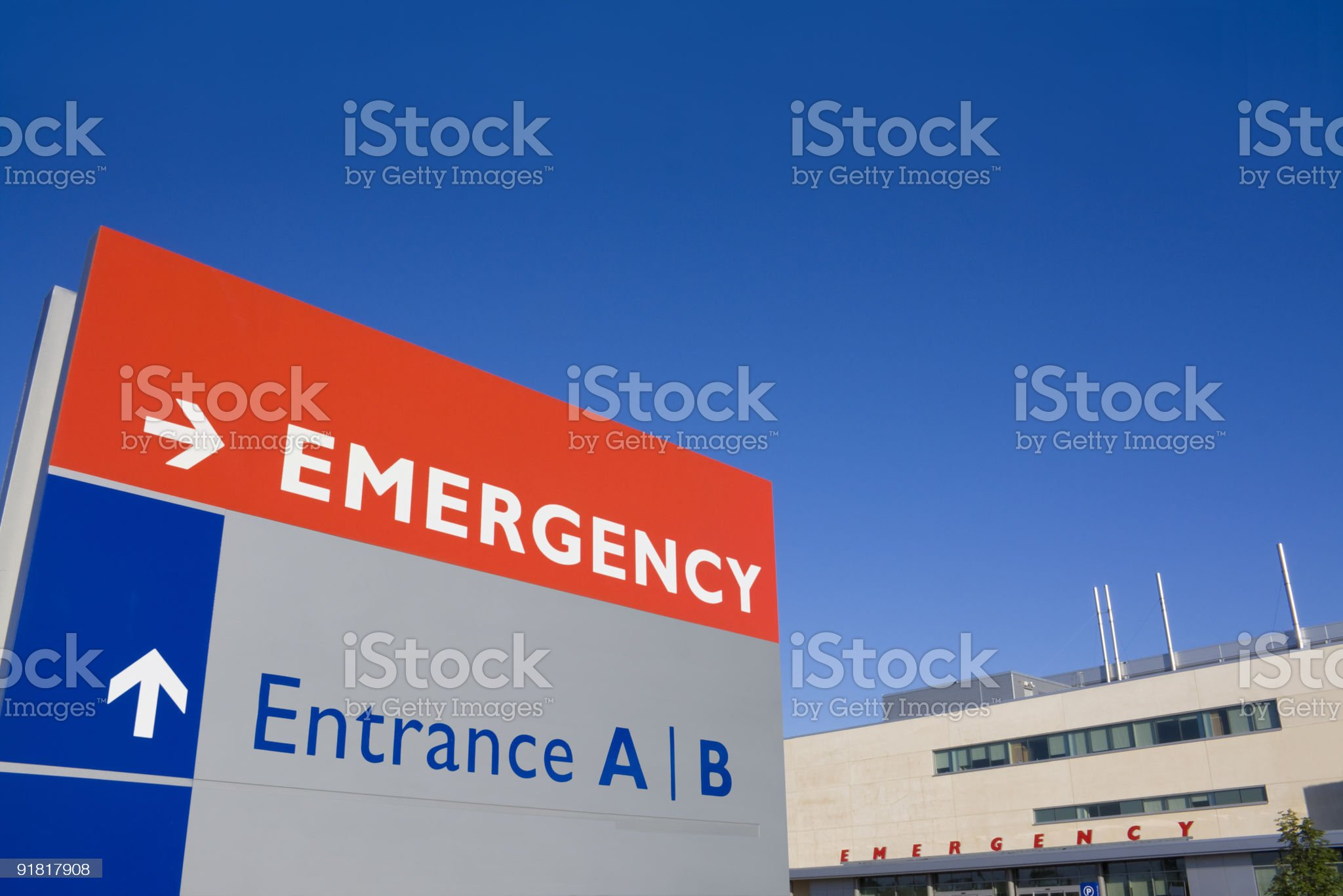 Emergency sign outside hospital royalty-free stock photo