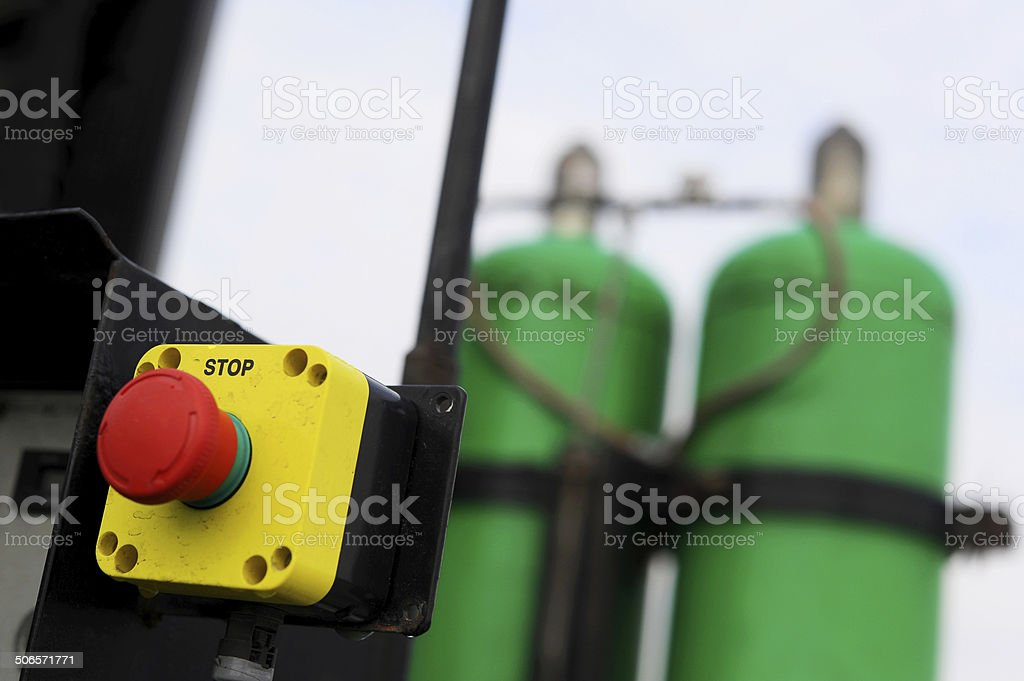 Emergency stop switch for gas stock photo