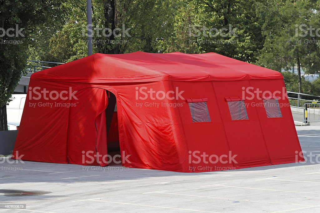 Emergency tent stock photo