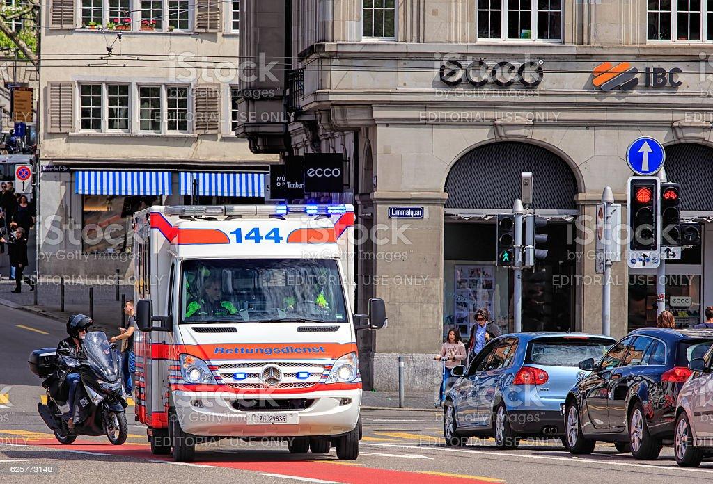 Emergency van in Zurich stock photo