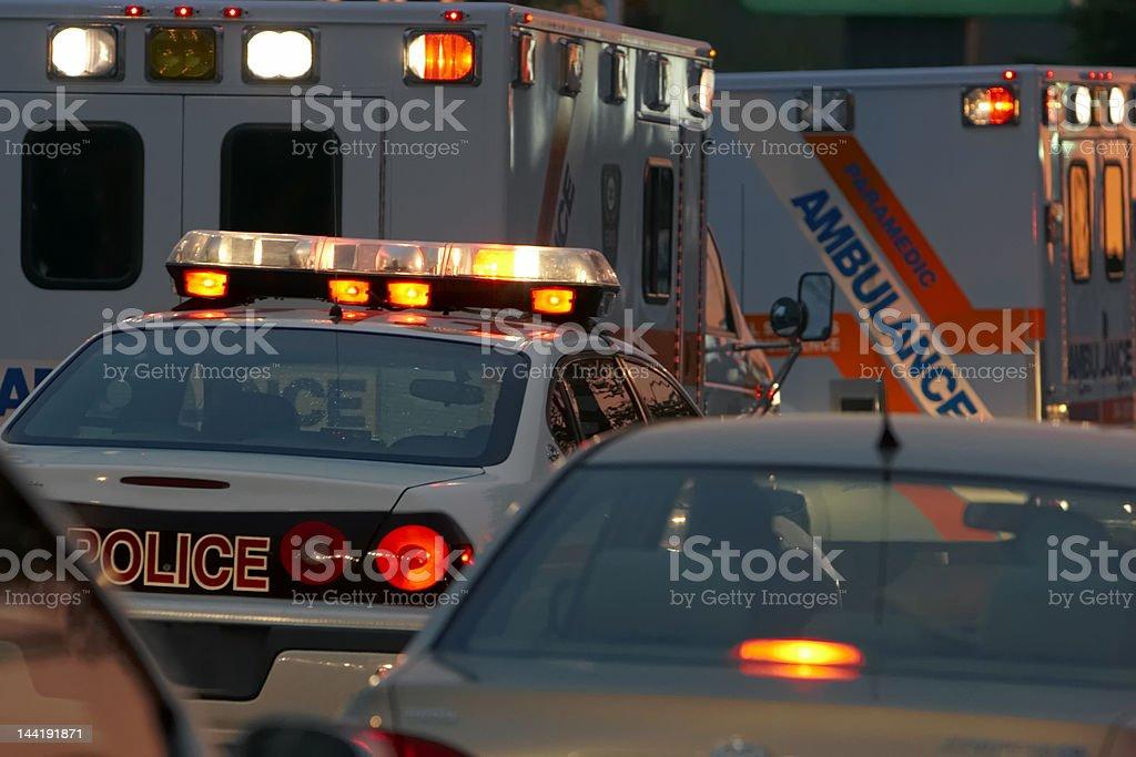 Emergency Vehicles at Night stock photo