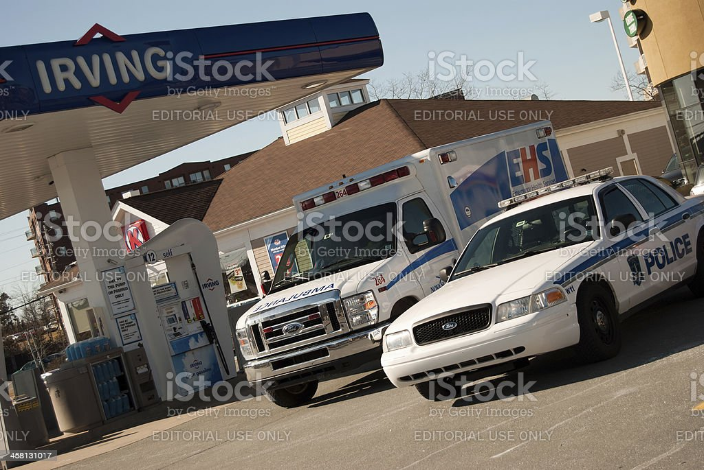 Emergency Vehicles on the Scene of a Call stock photo