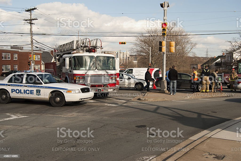 Emergency Vehicles on the Scene of Car Accident royalty-free stock photo