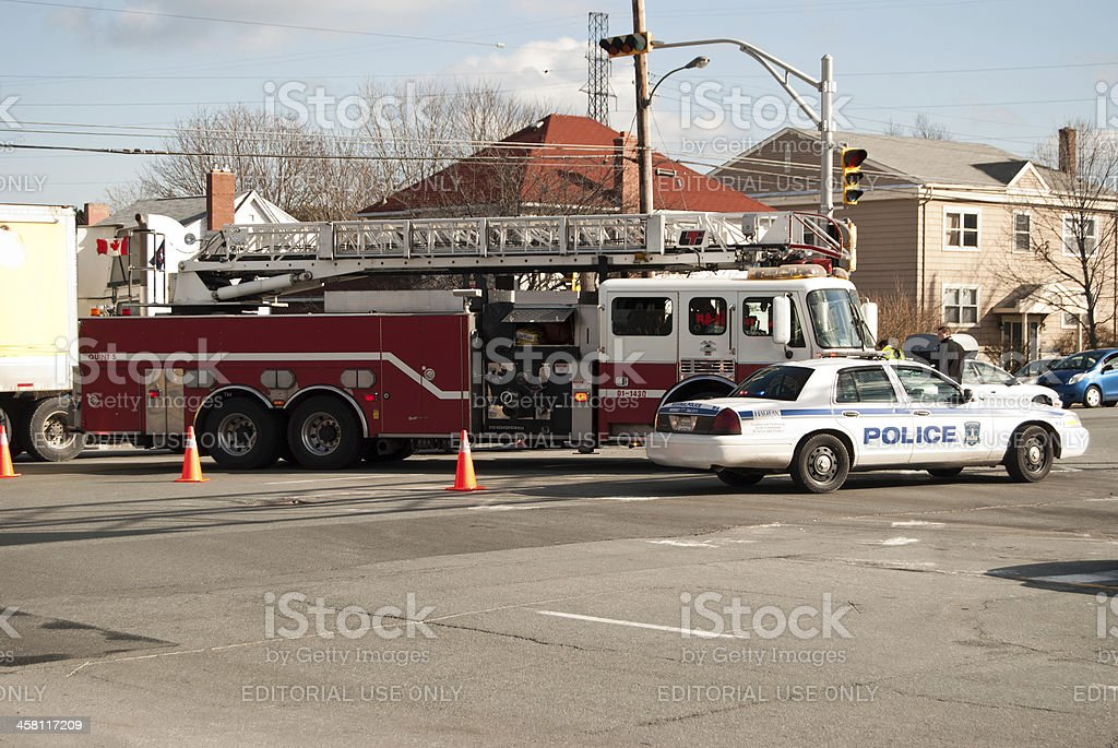 Emergency Vehicles on the Scene of Car Accident stock photo